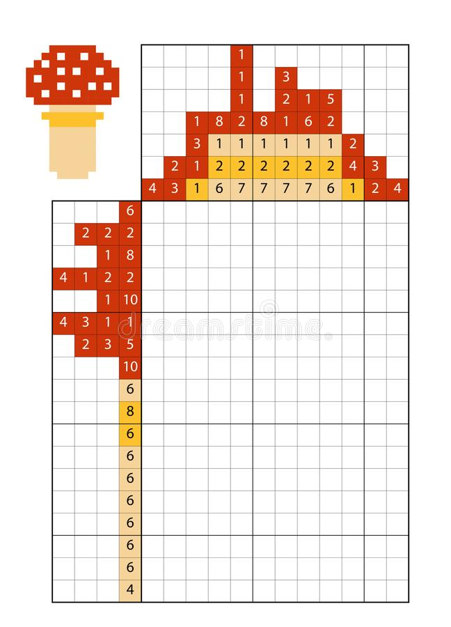 Farbe durch Zahlpuzzlespiel nonogram, Wulstlingspilz lizenzfreie abbildung