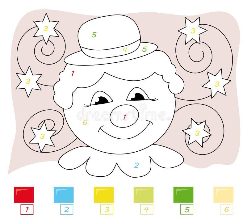 Farbe durch Zahlspiel: Clown lizenzfreie abbildung