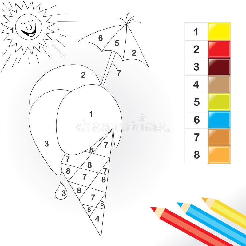 Farbe durch Zahlspiel für Kinder lizenzfreie abbildung
