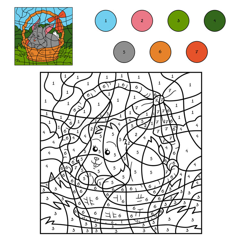 Farbe durch Zahlspiel (Kaninchen im Korb) vektor abbildung