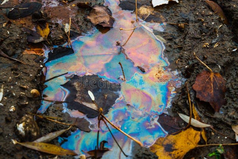 Farbe geschieden vom Benzin im Wasser des Flusses ?kologisches Krisenfoto lizenzfreies stockbild