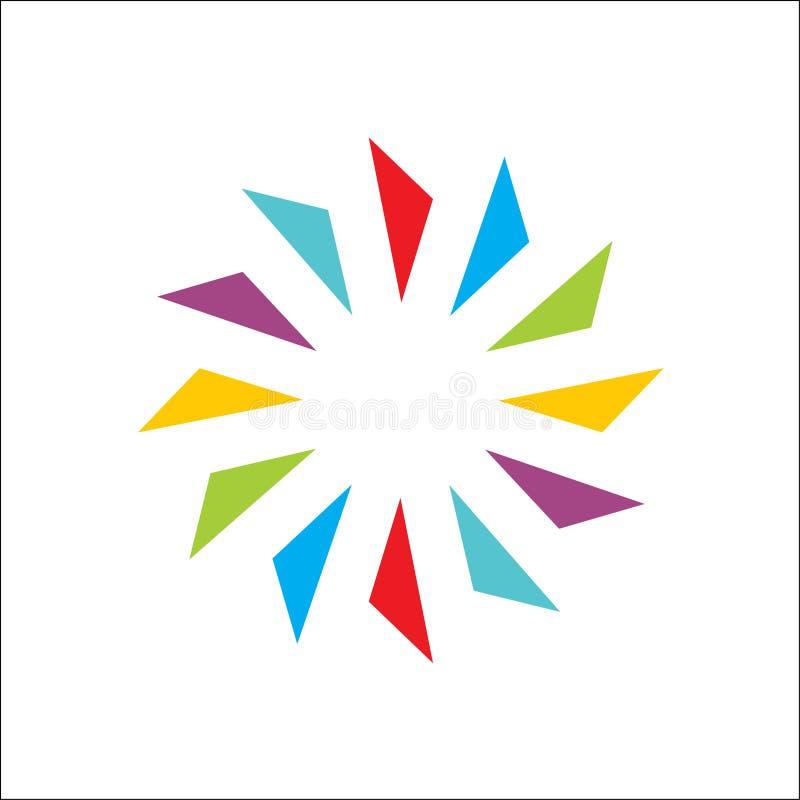 Farbe kreativ vom Kreiszusammenfassungsvektor und Logoentwurf oder -schablone vektor abbildung