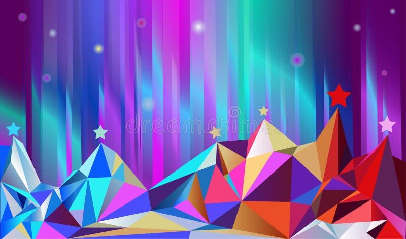 Farbe montains und nördlich glänzen. lizenzfreie abbildung