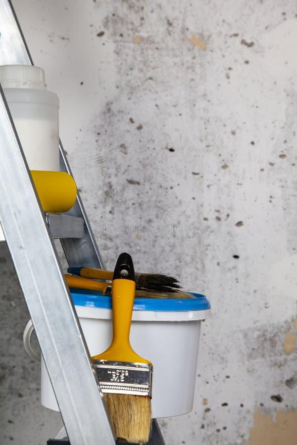Farbe, Rolle und Bürsten auf dem Stehleiter lizenzfreies stockbild