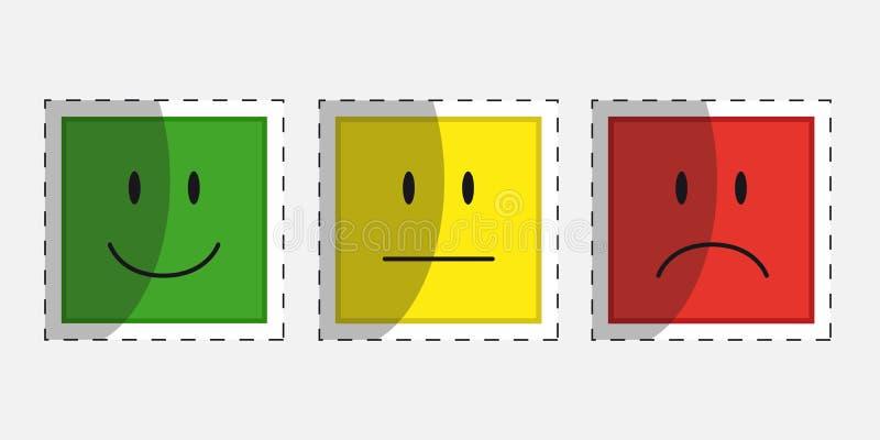 Farbe stellt Feedback oder Stimmung - Entwurfs-Vektor-Ikonen mit Schatten gegenüber lizenzfreie abbildung