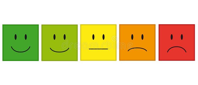Farbe stellt Feedback oder Stimmung - Vektor-Ikonen gegenüber stock abbildung