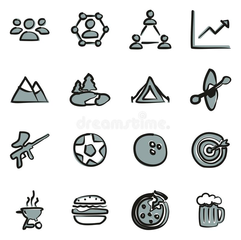 Farbe Team Building Icons Freehands 2 stock abbildung
