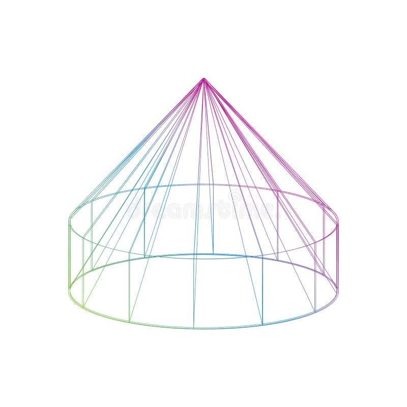 Farbe-yurt Ikone auf dem weißen Hintergrund lizenzfreie abbildung