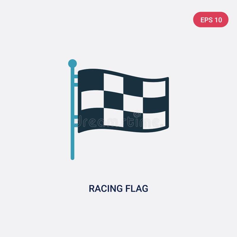 Farbe zwei, die Flaggenvektorikone vom Produktivitätskonzept läuft lokalisiertes blaues laufendes Flaggenvektor-Zeichensymbol kan stock abbildung