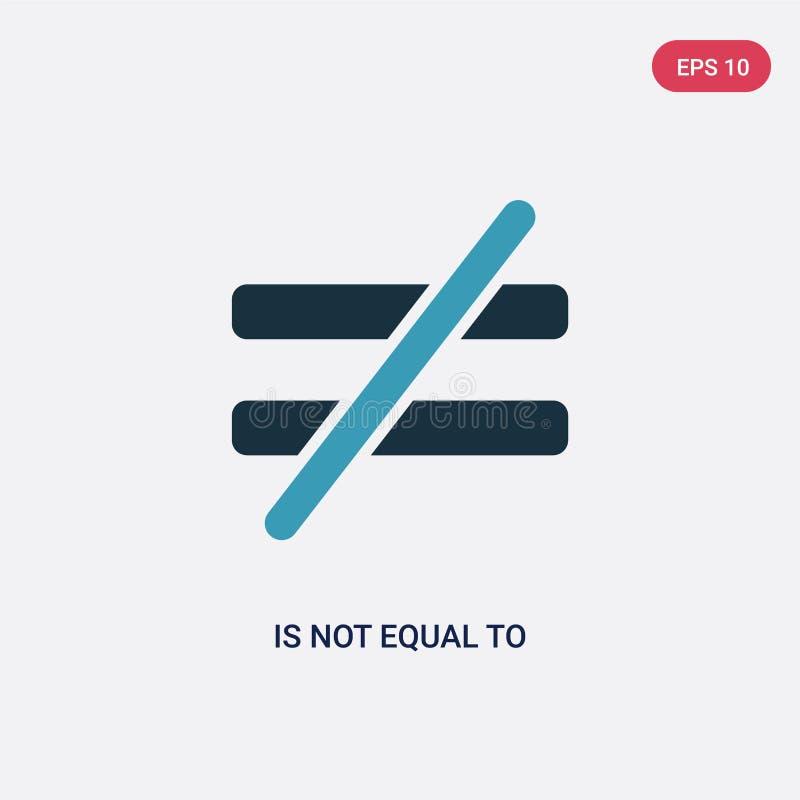 Farbe zwei ist nicht gleiche Vektorikone vom Zeichenkonzept lokalisiertes Blau ist nicht Vektorzeichensymbol kann Gebrauch für Ne stock abbildung