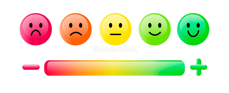 Farbeemoticon Satz fünf stellt die smileyskala, -lächeln, -neutrales und -trauriges in Rotem gegenüber, in Orange und Grünes loka stock abbildung