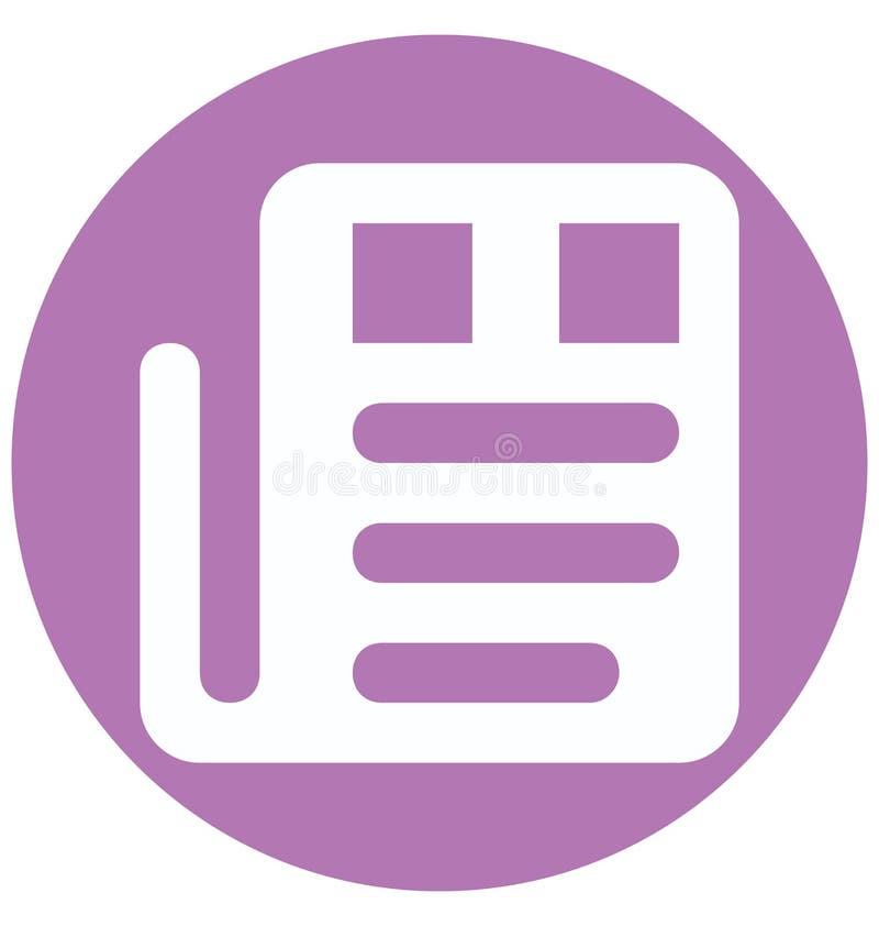 Farbeglyph-Vektor-Ikone der Zeitungs-zwei lokalisiert und Editable stock abbildung