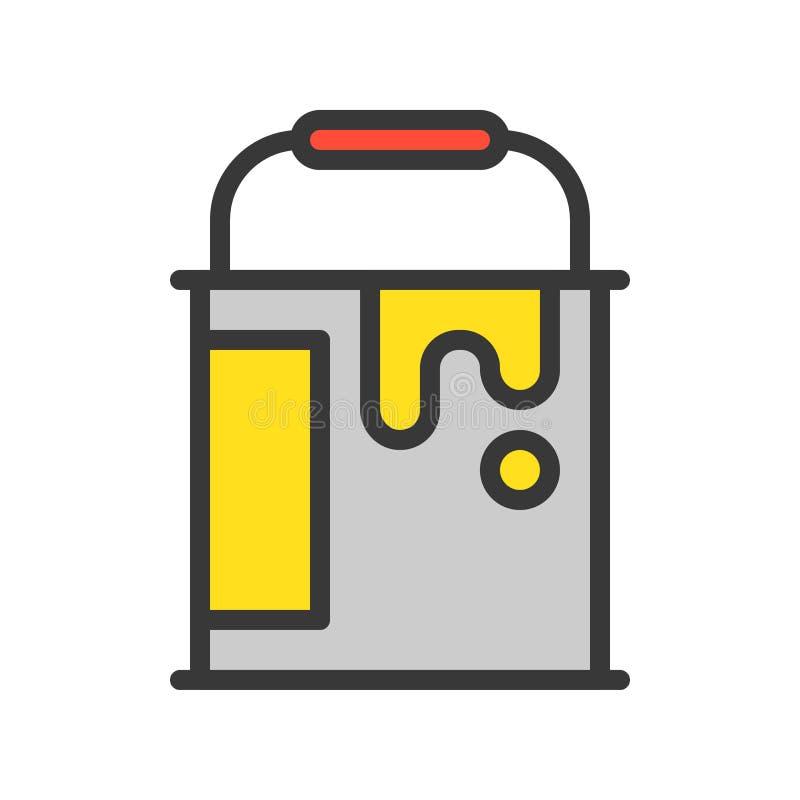 Farbeimer, gefüllte Entwurfsikone, Heimwerkerwerkzeug und Ausrüstungssatz lizenzfreie abbildung