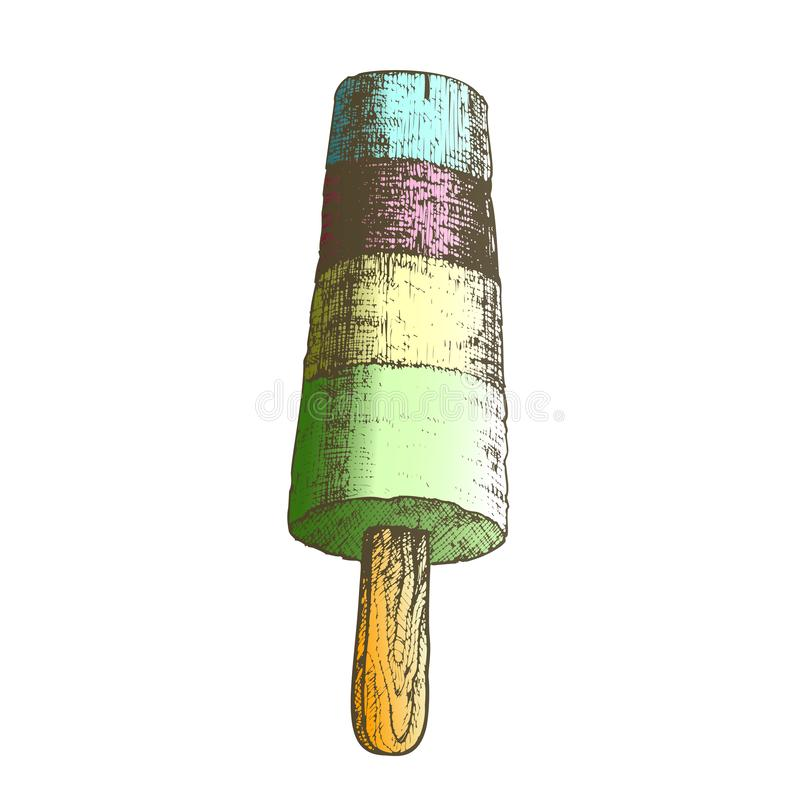 Farbeis am stiel-gefrorenes Eis auf Stock-einfarbigem Vektor lizenzfreie abbildung