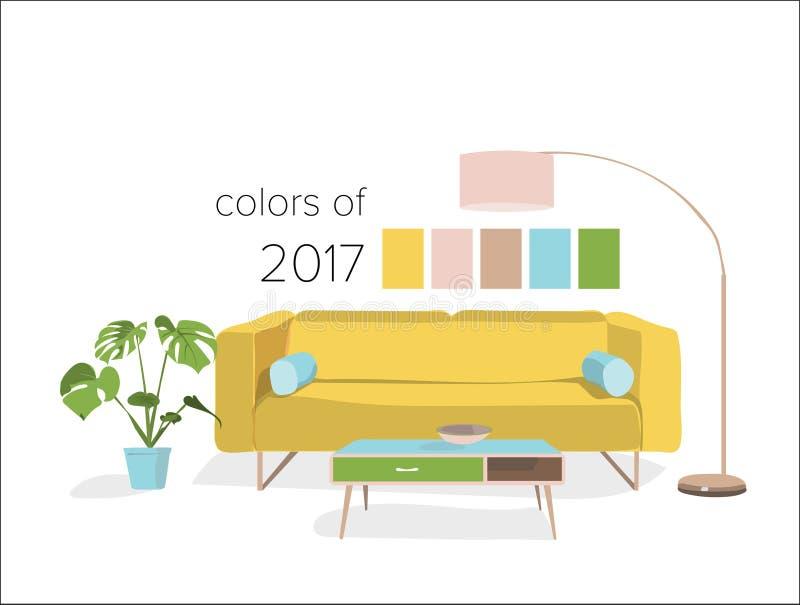 Farben des Wohnzimmers im Jahre 2017 vektor abbildung
