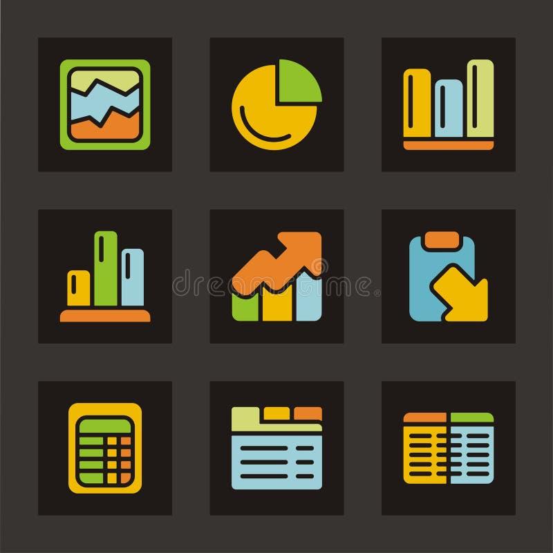 Farben-Ikonen-Serie - Diagramme und Tabellen vektor abbildung