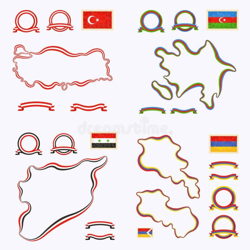 Farben von der Türkei, von Aserbaidschan, von Syrien und von Armenien stock abbildung