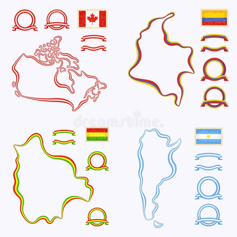 Farben von Kanada, von Kolumbien, von Bolivien und von Argentinien lizenzfreie abbildung