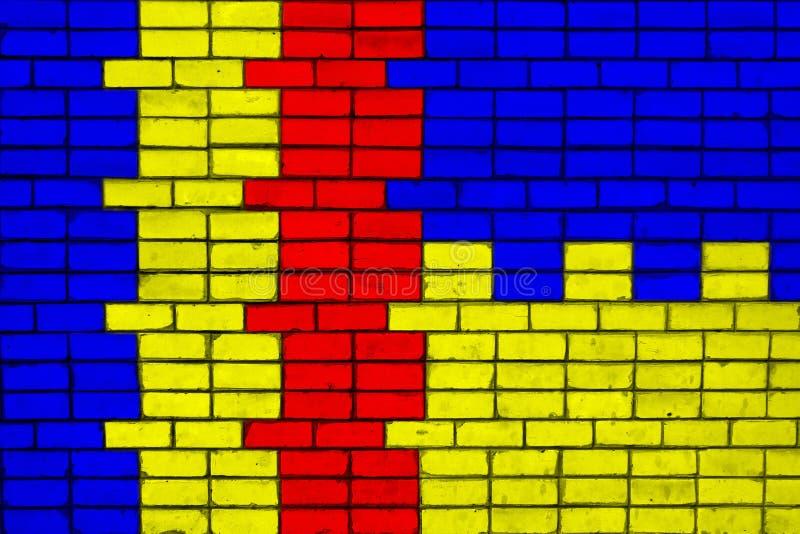 Farben von Staatsflaggen von Rumänien und von Ukraine auf einer Backsteinmauer lizenzfreies stockfoto