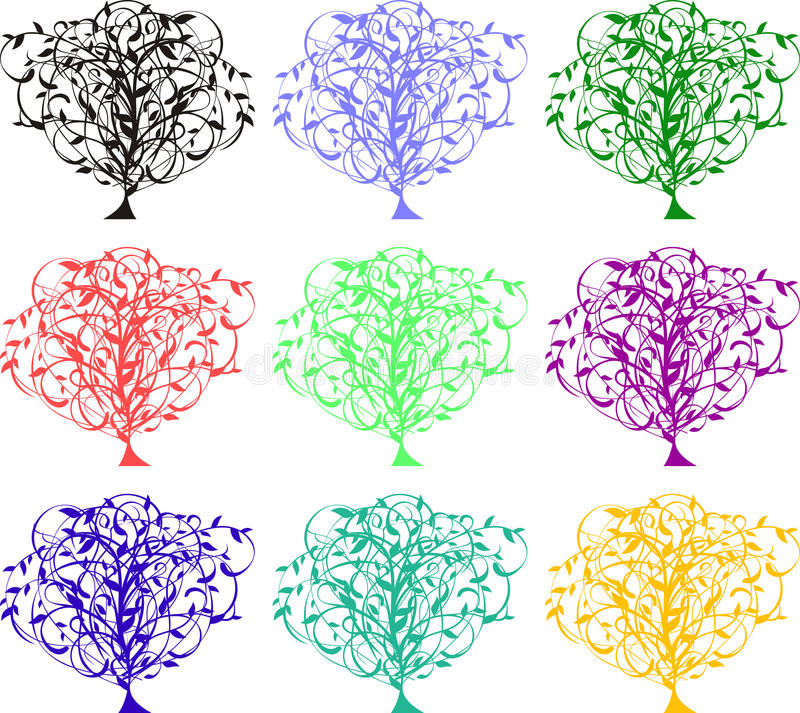 Farbenbäume stock abbildung