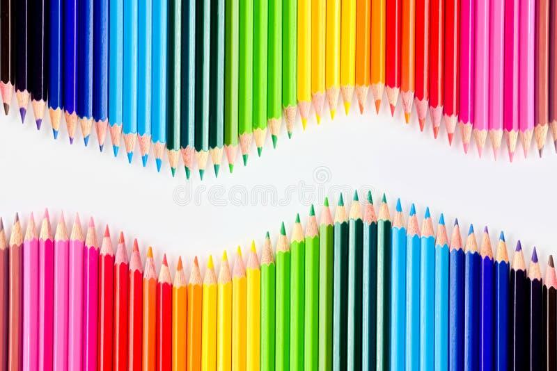 Farbenbleistifte eingestellt stockbild