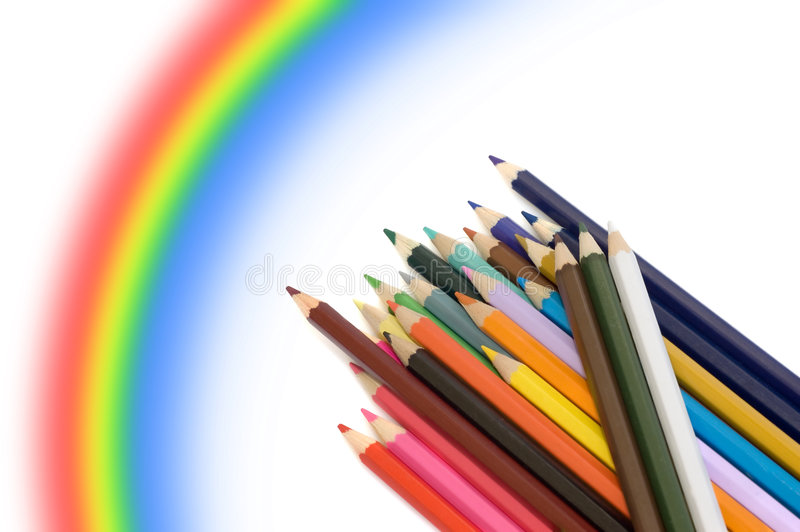 Farbenbleistifte Und -regenbogen Stockbilder