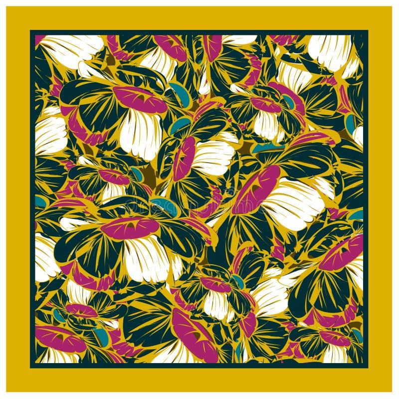 Farbenfroher Seidenschal mit blühendem Mohn lizenzfreies stockfoto