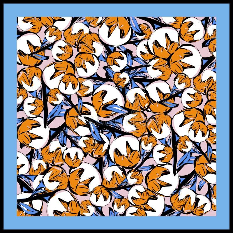 Farbenfroher Seidenschal mit blühendem Mohn stockfoto