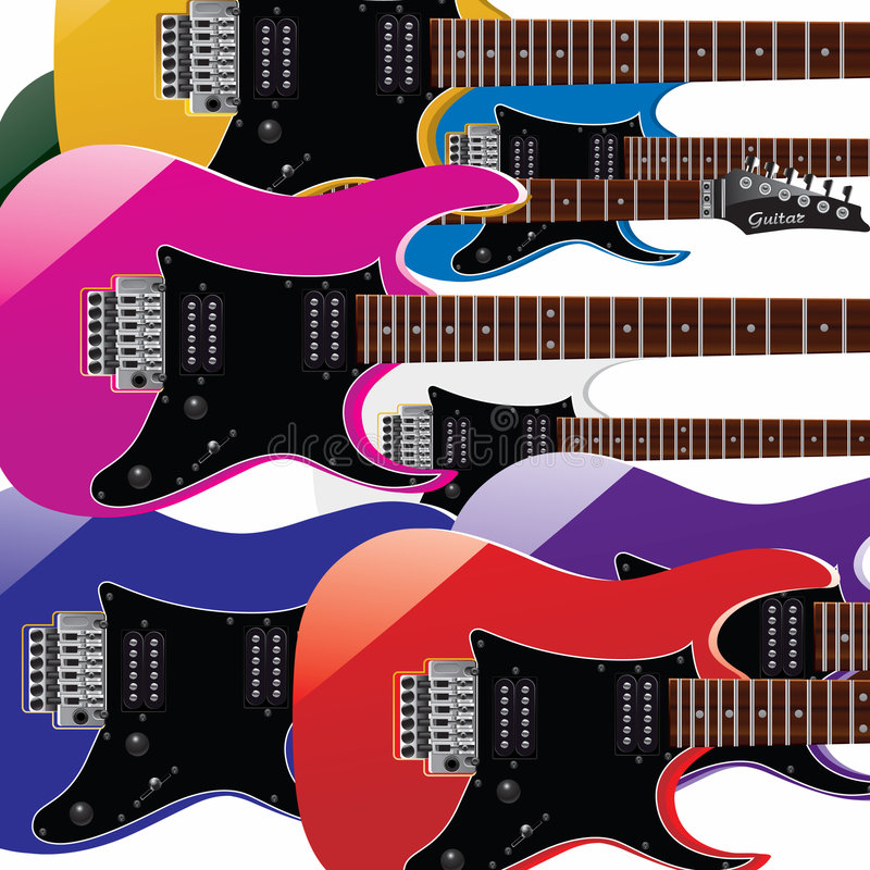 Farbengitarre lizenzfreie abbildung