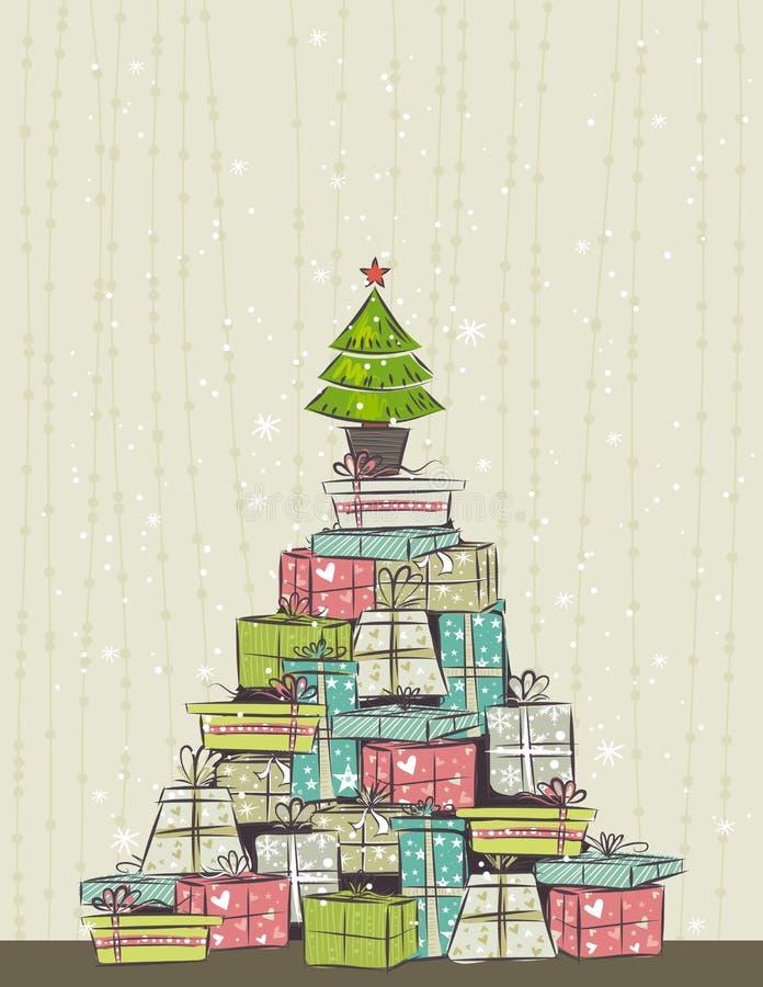 Farbenhintergrund mit Weihnachtsgeschenk,   vektor abbildung