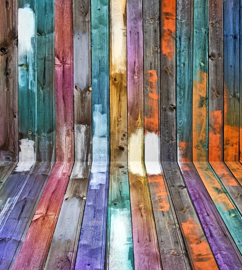Farbenholz täfelt Perspektive stockfotos