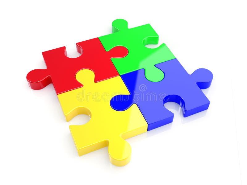 Farbenpuzzlespielkonzept stock abbildung
