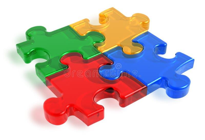 Farbenpuzzlespielstücke stock abbildung