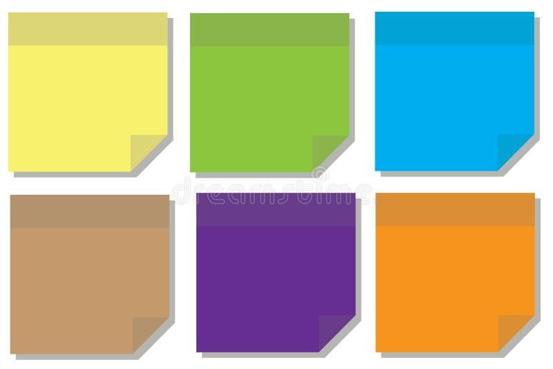 farbenreiche Haftnotiz oder klebrige Anmerkung lizenzfreie abbildung