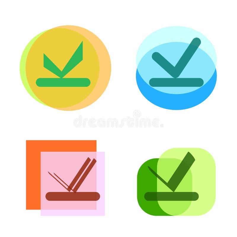 Farbenreiche und 4 Modelle des Häkchens oder des Checkbox oder des Auswahlkästchens vektor abbildung