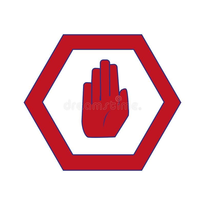 Farbenreiche warnende Metallmitteilungen mit Stoppschild lizenzfreie abbildung