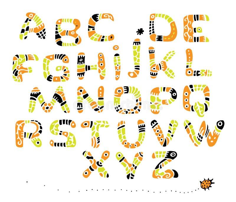 Farbenschrifttyp in der Art von ethnischem vektor abbildung