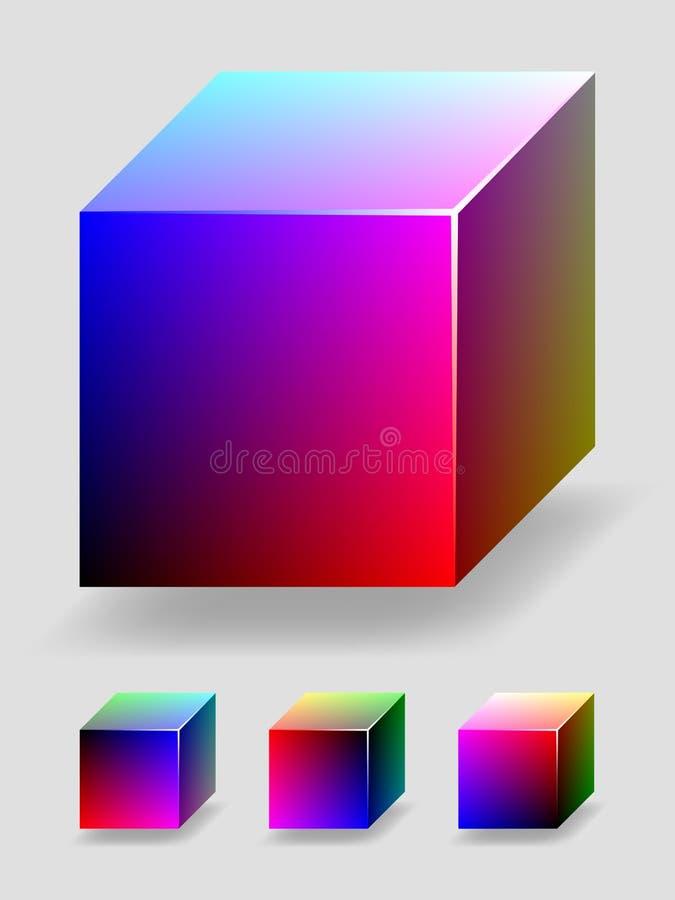 Farbenwürfel - Blau und Rot lizenzfreie abbildung