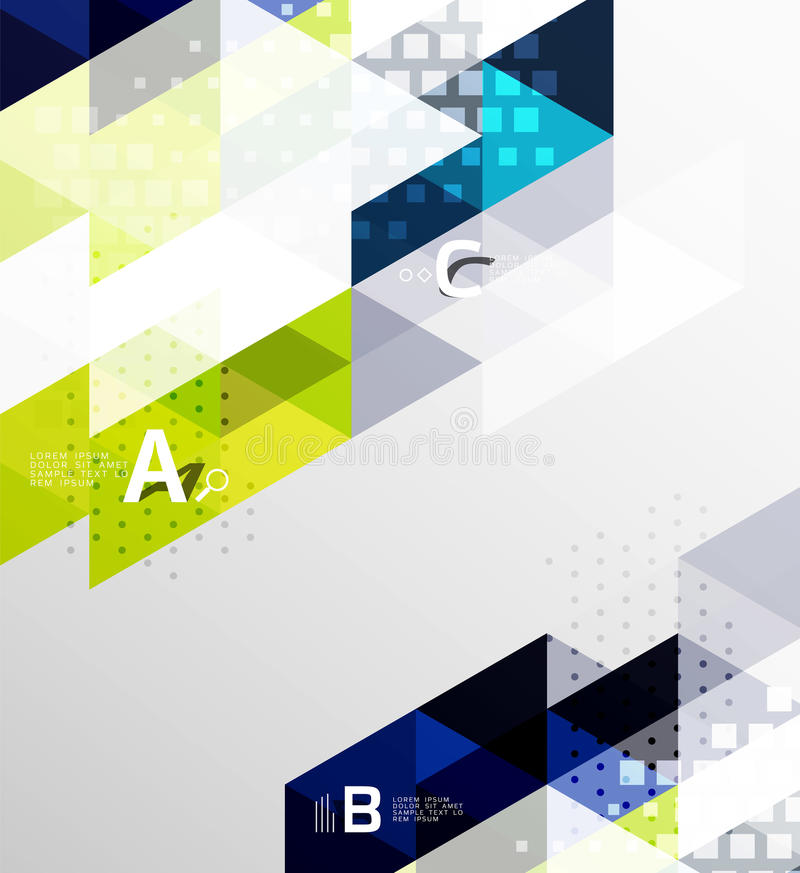 Farbetransparente trianlge Fliesen mit infographic Elementen stock abbildung