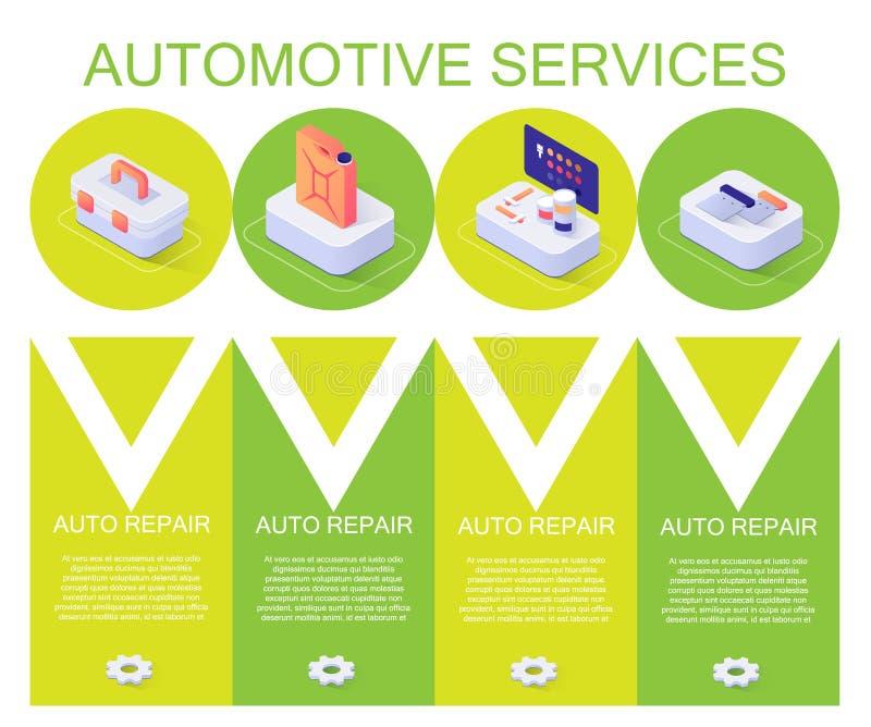 Farbfahne mit Automobilservice-Beschreibung stock abbildung