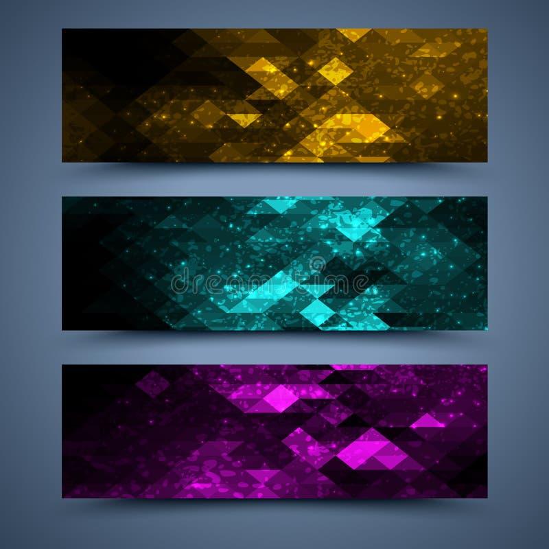 Farbfahnenschablonen. Abstrakte Hintergründe stock abbildung