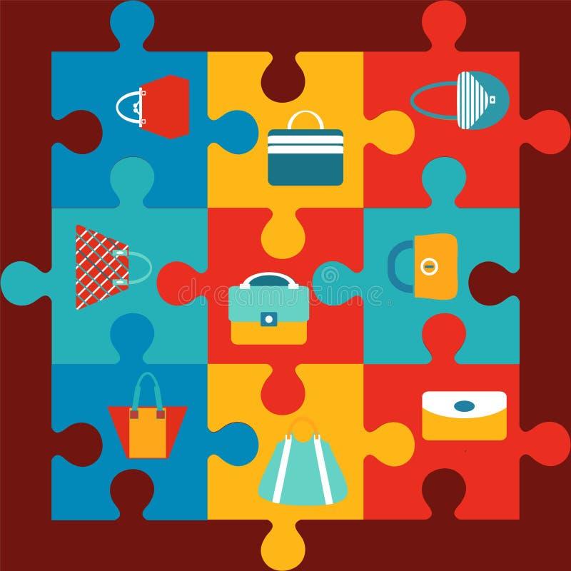 Farbflache Ikone der Modetasche vektor abbildung