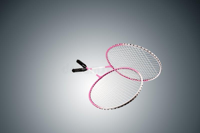 Farbfoto von zwei Schlägern für Badminton lizenzfreie stockbilder