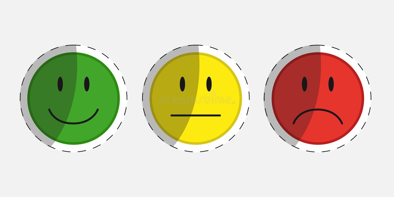 Farbgesichter für Feedback oder Stimmung - 3 Aufkleber-Vektor-Ikonen stock abbildung