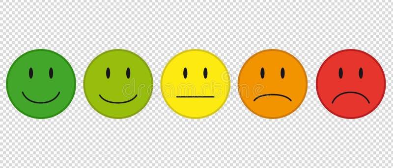 Farbgesichter für Feedback oder Stimmung - 5 Vektor-Ikonen lokalisiert auf transparentem Hintergrund stock abbildung