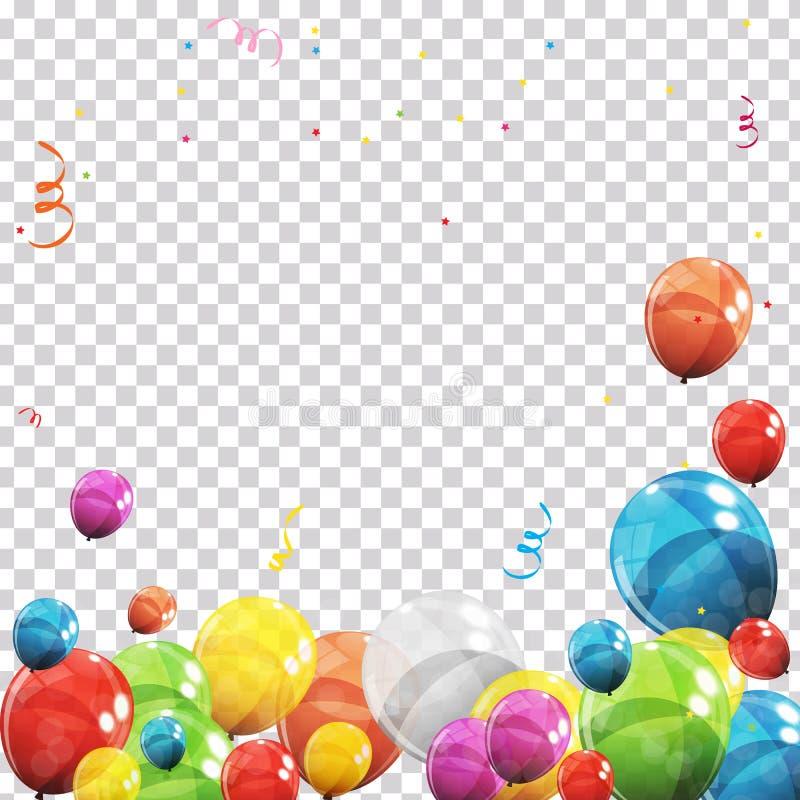 Farbglatte Ballone und -Konfettis auf transparenter überprüfter Hintergrund-Vektor-Illustration stock abbildung