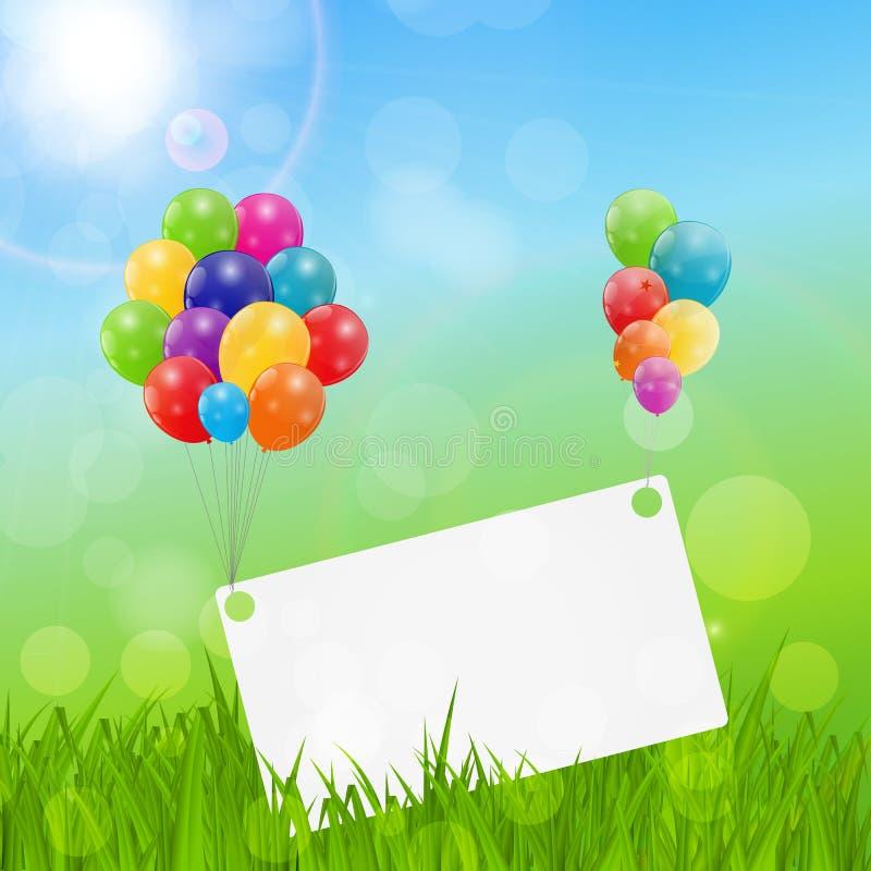 Farbglatter Ballon-Glückwunschkarte-Hintergrund-Vektor Illustrat lizenzfreie abbildung