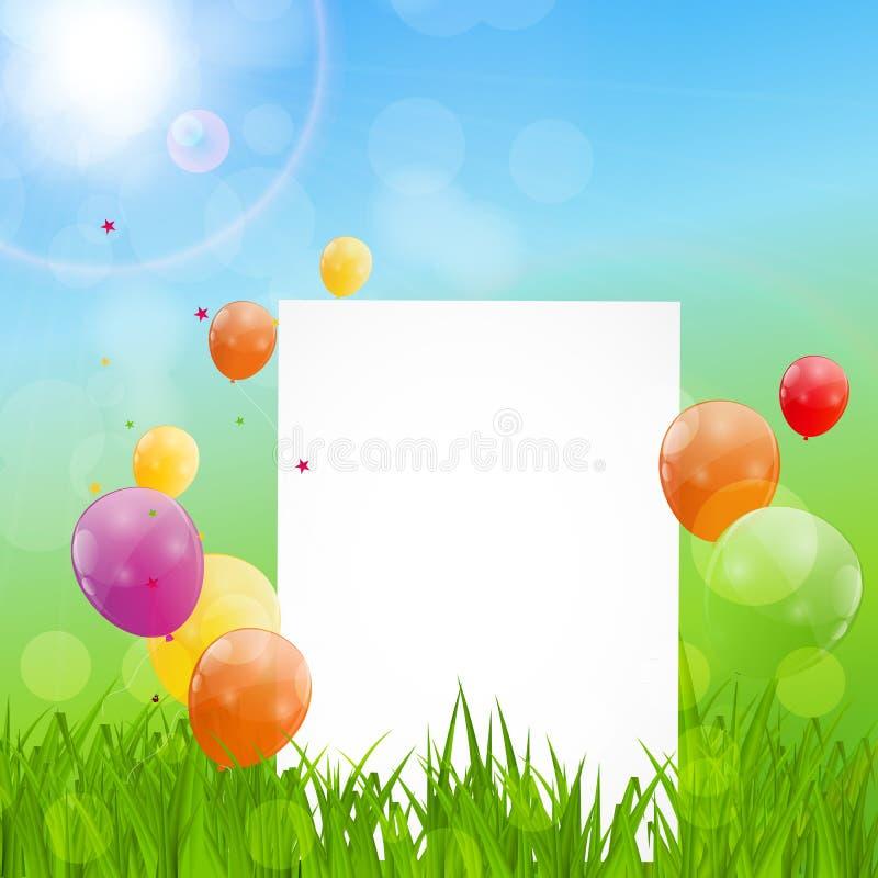 Farbglatter Ballon-Glückwunschkarte-Hintergrund-Vektor Illustrat stock abbildung