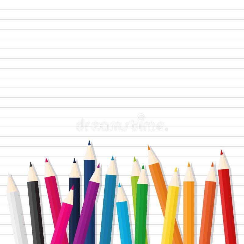 Farbhölzerner Bleistift Auf Linie Papierhintergrund Vektor Abbildung ...