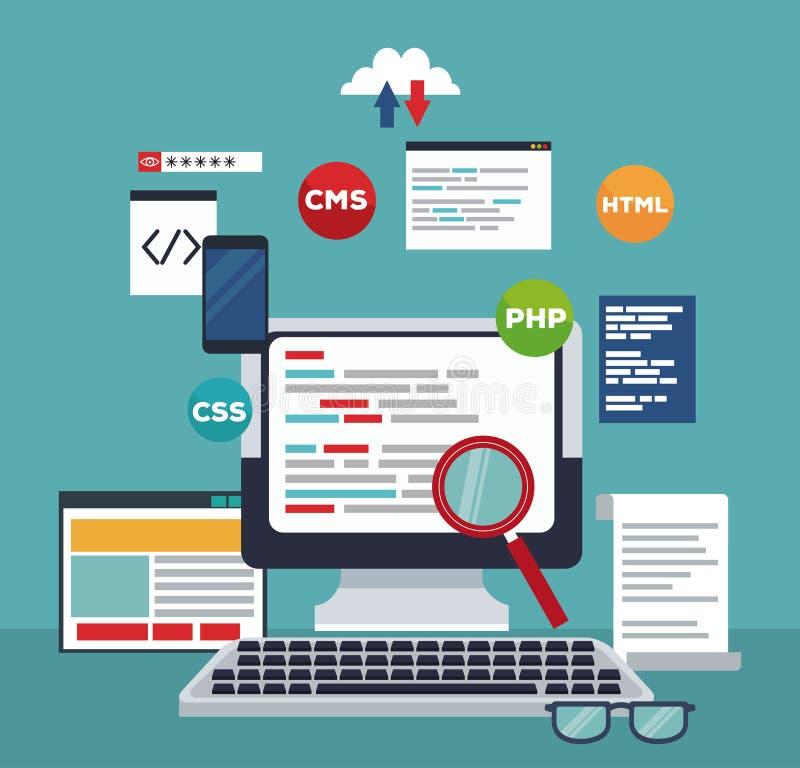 Farbhintergrundtechnologie-Computerprogrammiercodes lizenzfreie abbildung